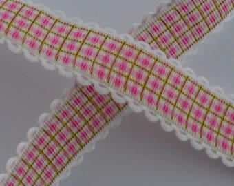 1 meter Ribbon Fuchsia Plaid 25mm wide lace