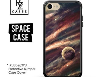 Space Phone Case, Planets Phone Case, iPhone 7 Case, Space iPhone Case, Gift for Her, iPhone 7 Plus, iPhone 6S, Rubber, Bumper Case