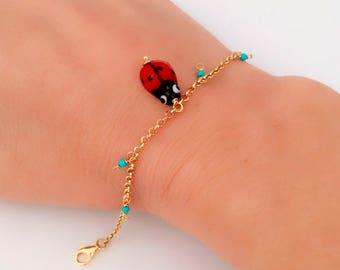 Silver bracelet for children. Bracelet with pendant. Bracelet with Turquoise. Bracelet with lucky Jewel. Lucky Bracelet