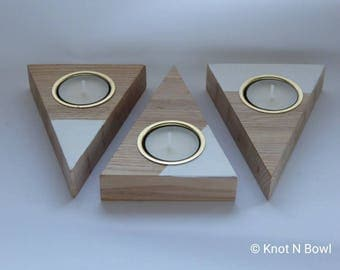 Triangular wooden tealight holders