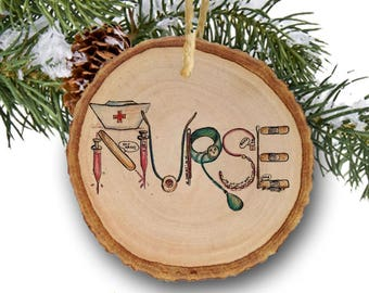 Nurse ornament, Christmas gift, RN,Registered nurse gift, gift for nurse,Tree Slice, Wooden Rustic