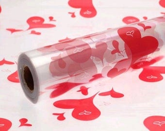 Stylish Red Hearts Cellophane Hamper Birthday Gift Wrap with 3m Curling Ribbon
