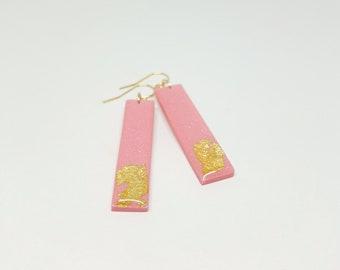 SALMON Pinkish Shrimmer Dangle Bar Earrings