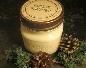 HOODIE WEATHER // Soy Candle // Wood Wick // Mason Jar // Winter // Fall // Woodsy Scent