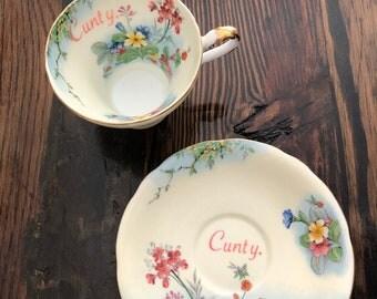 Cunty  vulgar vintage Aynsley tea cup and saucer set