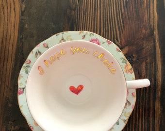 I hope you choke | vulgar tea cup and matching 'Dumb ass' saucer set