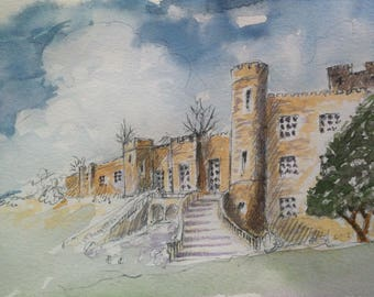 Stobo Castle - watercolour (print)