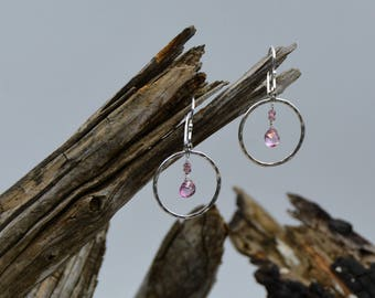 Sterling Silver Hammered Circle Earrings with Pink Tourmaline Drops