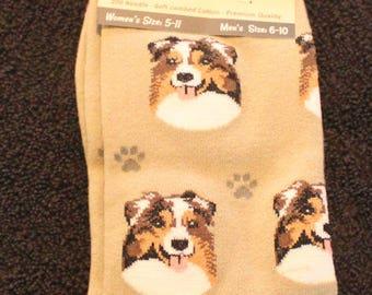 Australian Shepherd Dog Breed Lightweight Stretch Cotton Adult Socks