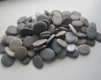 105 pcs Grey Sea Stones; Flat Beach rock for crafts,Mosaic,Pebble art/Art.P-38