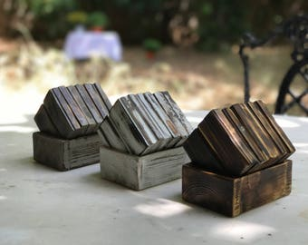Six Piece Wooden Coasters with Wooden Stand | Glass Coasters | Whiskey Coasters | Cognac Coasters | Beer Coasters | Rustic | Bar Coasters