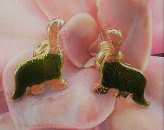 Dinosaur gold stud earrings / hand-painted