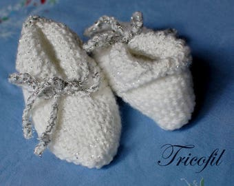Hand knitted white baby booties