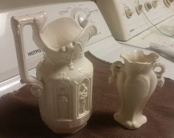 Lego 1940s Religious Ivory Pitcher & a small Ivory Bud Vase