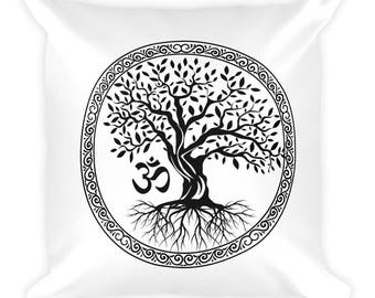 Tree of Life with Om Symbol Square Pillow
