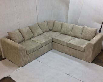 special offer brand new liverpool jumbo cord corner sofa with fast delivery