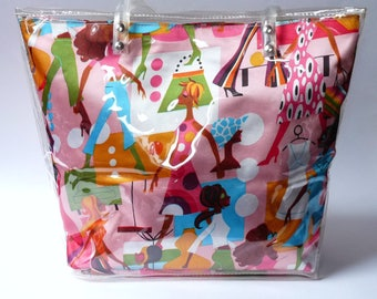 Hand Made Plastic Bag Vintage Pattern Shoulder Bag Handbag