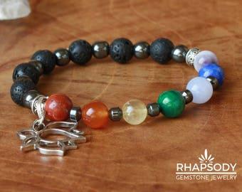 Chakra Bracelets - Lotus Flower Charm Bracelet - Yoga Bracelet - Healing Bracelets- Gemstone Beaded Bracelet - Healing Stone Bracelet