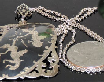 """1940's Siam Sterling Silver Mekala Pendant Chain Necklace 14.34 Grams 46 mm by 16"""""""