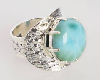 Genuine Dominican Republic Larimar Gemstone Men's Ring, Size 7.5 US, Caribbean Sea, 925 Sterling Silver, Girls Ring, Women's Ring, FSJ-1027