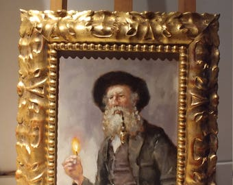 Rabbi old oil painting with ornamental frame