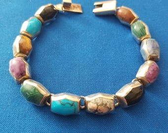 Vintage sterling silver mexico multicolored bracelet
