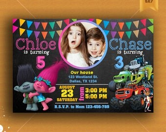 Sibling Birthday Invitation, Double Birthday Invitation, Dual Combined Twins Birthday Invitation, Trolls Sibling Invitation