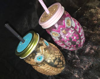 Handcrafted owl masonary drinking jar