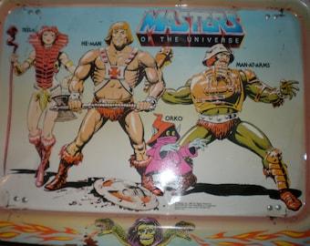 Vintage 1982 Mattel Masters of the Universe He-Man Teela Man at Arms ORKO Metal folding TV Tray by Artist Errol McCarthy & Mattel