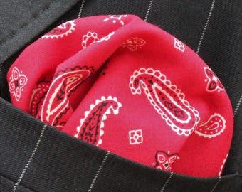 Hankie Pocket Square Handkerchief Red Paisley - Premium Cotton - UK Made