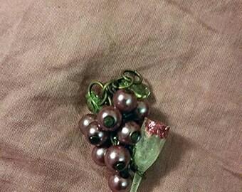 Grape cluster wine glass pendant