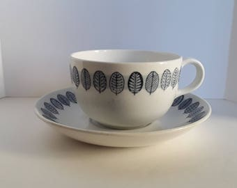Arabia Finland Linnea blue leaves design Tea Cup and Saucer Coffee Cup Mid Century Vintage Crown Stamp Cup and Saucer dishes