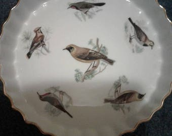 """Vintage Lourioux Le Faune 10"""" Quiche Dish French Porcelain Song Birds Oven To Table Aesthetic Style Bakeware with Birds"""
