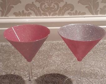 2 glittered martini glasses 2 tone