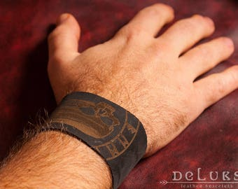 Leather Bracelet , Men's Leather Wristband,  Leather Bracelet Cuff, Men's Cuff Bracelet , mortal head Leather Bracelet mens  ,mortal head