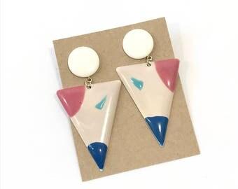 Mod Triangle Enamel Retro Earrings || Dangle Earrings || Gift for Women || Christmas Gifts || Mid Century Style || Vintage Jewelry