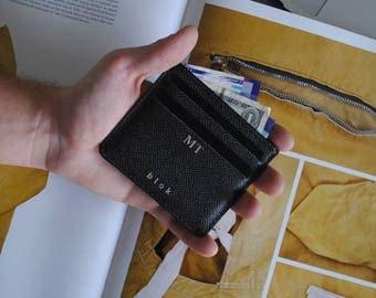 Leather Card Holder Personalized Monogram Initials | Slim card holder ZEN DARK BROWN |
