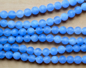 8mm Frosted Navy Jade beads, full strand, natural stone beads, round, 80146