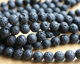 6mm Black Lava beads, full strand, natural stone beads, round, 60058