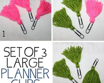 Set of THREE Yarn Planner Clips / Bible Journaling Clips / Yarn Clips / Fancy Paper Clips / Bookmarks / Page Marker