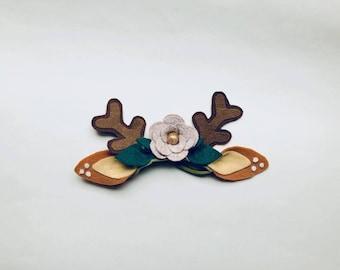 Reindeer antlers, felt deer ears, felt flower crown, animal ear crown, reindeer holiday felt, deer flower crown, christmas reindeer headband