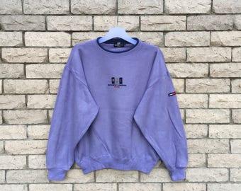 vintage!!! MICHIKO LONDON sweatshirt spellout embroidered logo. MLJ.. vintage sweatshirt .size M