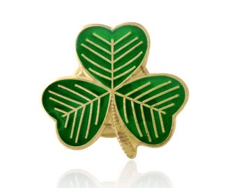 Gold Plated Lucky Irish Shamrock Lapel Pin Badge St Patrick's Day 2018