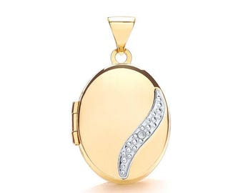 9ct Gold Single Diamond Small Oval 2 Photo Wave Locket 15x12mm