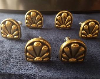 Antique KBC #3829 Keeler Brass Company Sunburst Art Deco Solid Brass Knobs