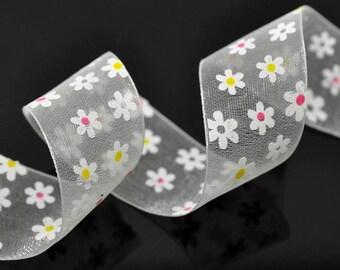 25mm multi-color craft flowers organza Ribbon