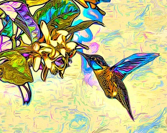 Custom Hummingbird portrait,  Animal portraits, digital pet painting,- Instant Download
