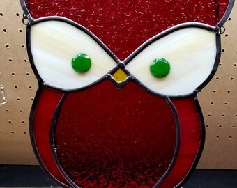Custom -Owl - Stained Glass Suncatcher.   You pick color of glass.  Measures 10 in × 11 in and includes 24 inches of black chain to hang.