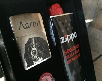 Zippo Chrome Brush Gift set with engraving