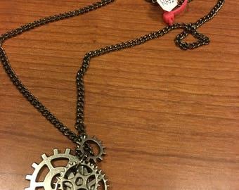 Multi gear steampunk dark silver necklace